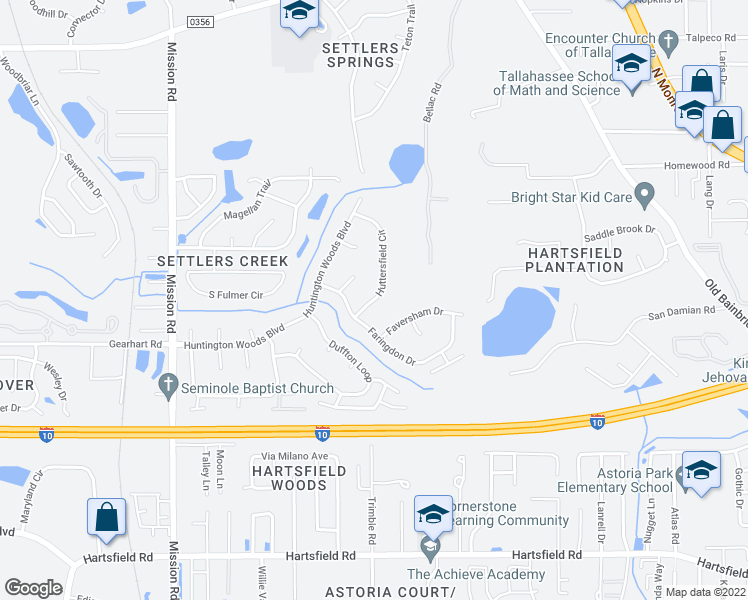 map of restaurants, bars, coffee shops, grocery stores, and more near 3117 Huttersfield Circle in Tallahassee