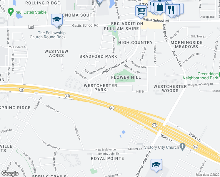 map of restaurants, bars, coffee shops, grocery stores, and more near 2823 Southampton Way in Round Rock