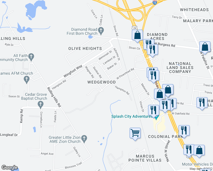 map of restaurants, bars, coffee shops, grocery stores, and more near W Pinestead Rd & Dunbar Rd in Escambia