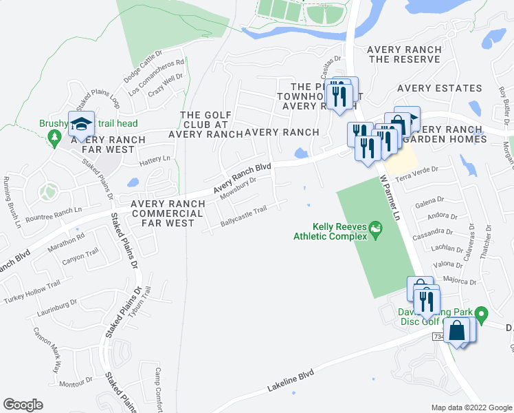 map of restaurants, bars, coffee shops, grocery stores, and more near 14500 Ballycastle Trail in Austin