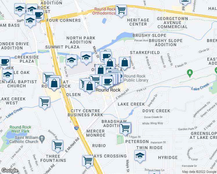 map of restaurants, bars, coffee shops, grocery stores, and more near in Round Rock