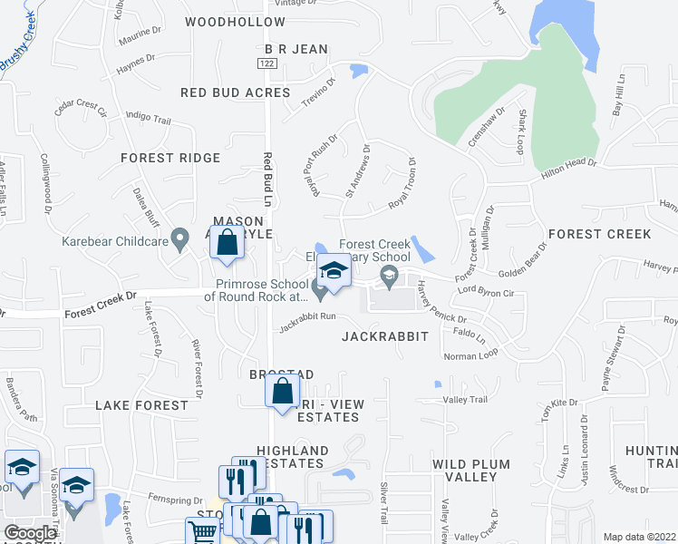 map of restaurants, bars, coffee shops, grocery stores, and more near 3300 Forest Creek Dr in Round Rock