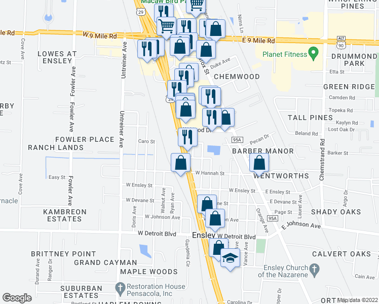 map of restaurants, bars, coffee shops, grocery stores, and more near 8710 Pensacola Blvd in Pensacola