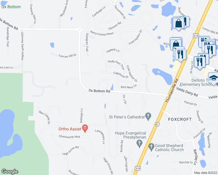 map of restaurants, bars, coffee shops, grocery stores, and more near 5109 Wild Rose Way in Tallahassee