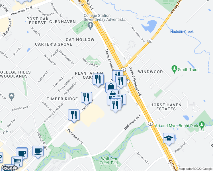 map of restaurants, bars, coffee shops, grocery stores, and more near 1499 Harvey Road in College Station