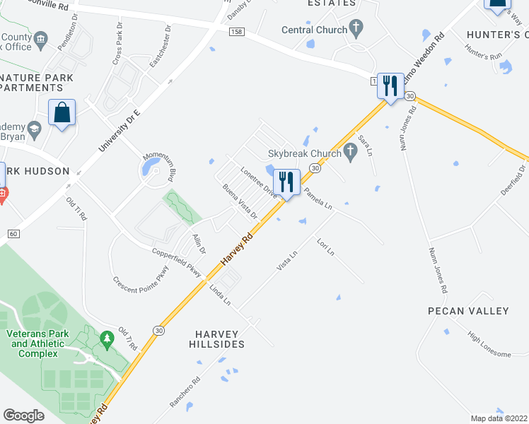 map of restaurants, bars, coffee shops, grocery stores, and more near 3828 Silver Thorne Lane in College Station