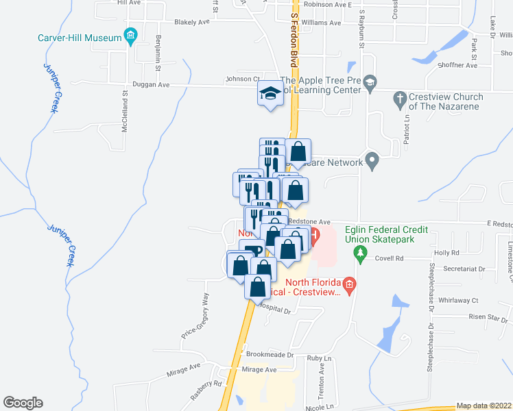 map of restaurants, bars, coffee shops, grocery stores, and more near 2250 South Ferdon Boulevard in Crestview