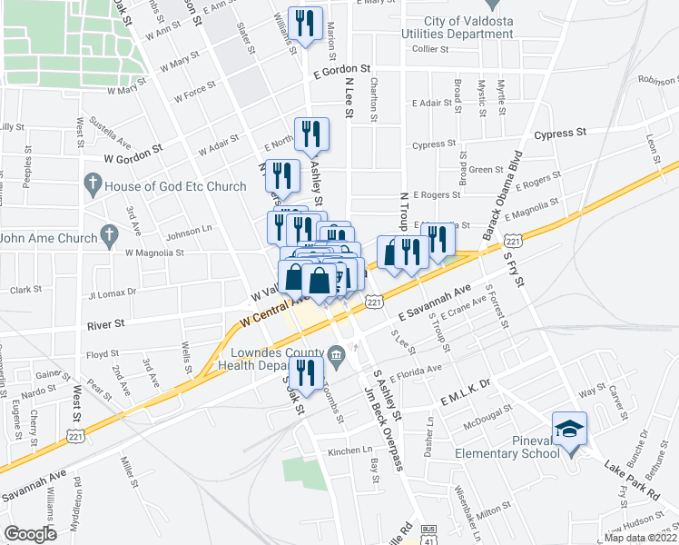 map of restaurants, bars, coffee shops, grocery stores, and more near in Valdosta