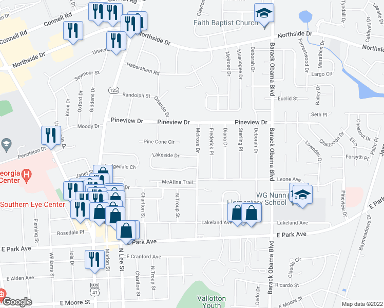 map of restaurants, bars, coffee shops, grocery stores, and more near 2320 Melrose Drive in Valdosta