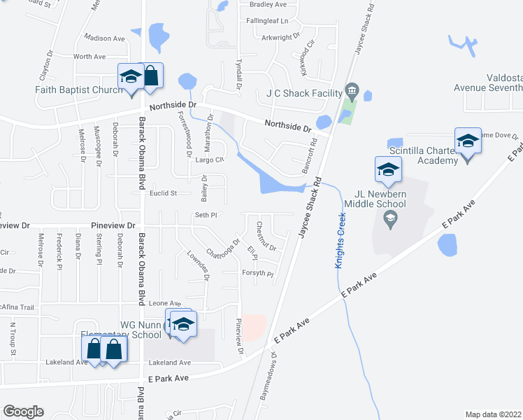 map of restaurants, bars, coffee shops, grocery stores, and more near 1722 Almond Tree Place in Valdosta