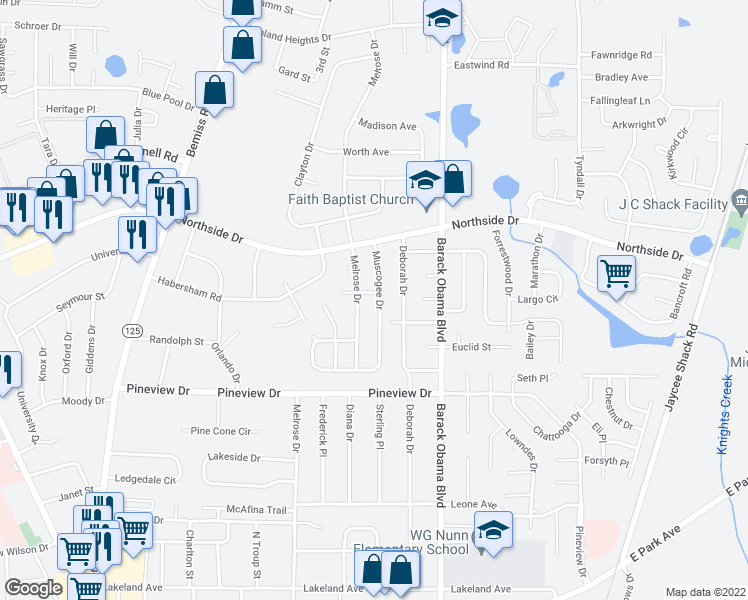 map of restaurants, bars, coffee shops, grocery stores, and more near 2517 Melrose Drive in Valdosta