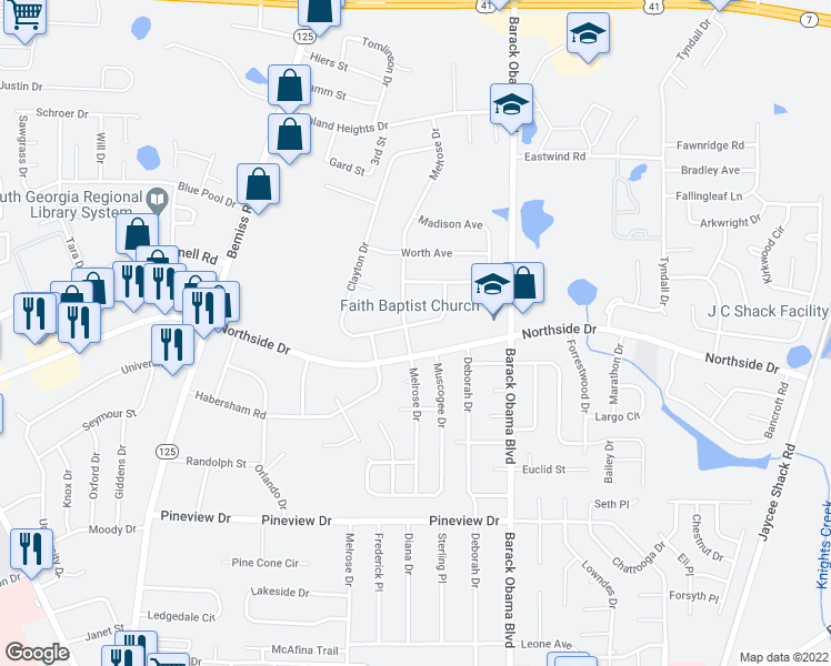 map of restaurants, bars, coffee shops, grocery stores, and more near 1000 Northside Drive in Valdosta