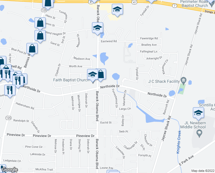 map of restaurants, bars, coffee shops, grocery stores, and more near 2527 N Forrest St in Valdosta