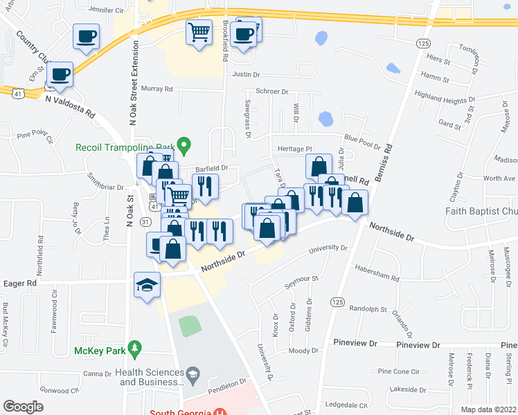 map of restaurants, bars, coffee shops, grocery stores, and more near 407-443 Connell Road in Valdosta