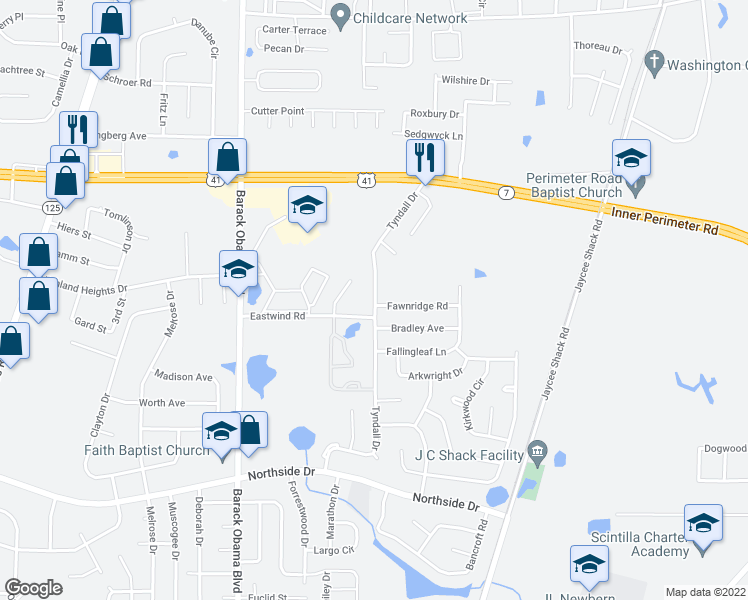 map of restaurants, bars, coffee shops, grocery stores, and more near 1800 Eastwind Rd in Valdosta