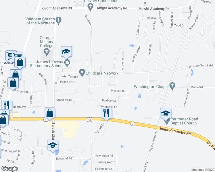 map of restaurants, bars, coffee shops, grocery stores, and more near 4318 Brandonshire Lane in Valdosta