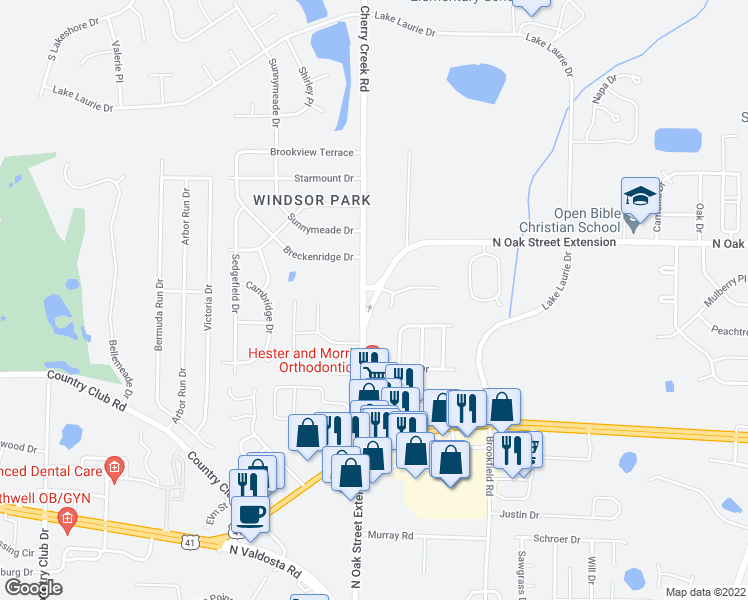 map of restaurants, bars, coffee shops, grocery stores, and more near North Oak Street in Valdosta