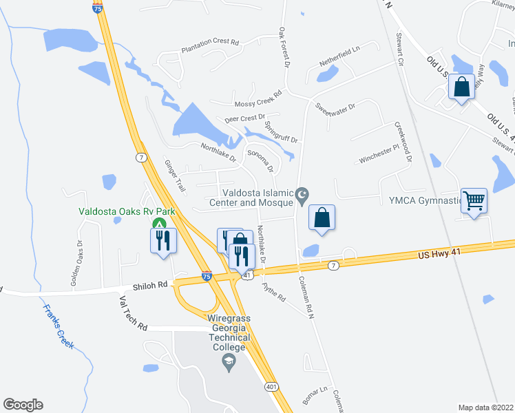 map of restaurants, bars, coffee shops, grocery stores, and more near 4298 Sonoma Drive in Valdosta