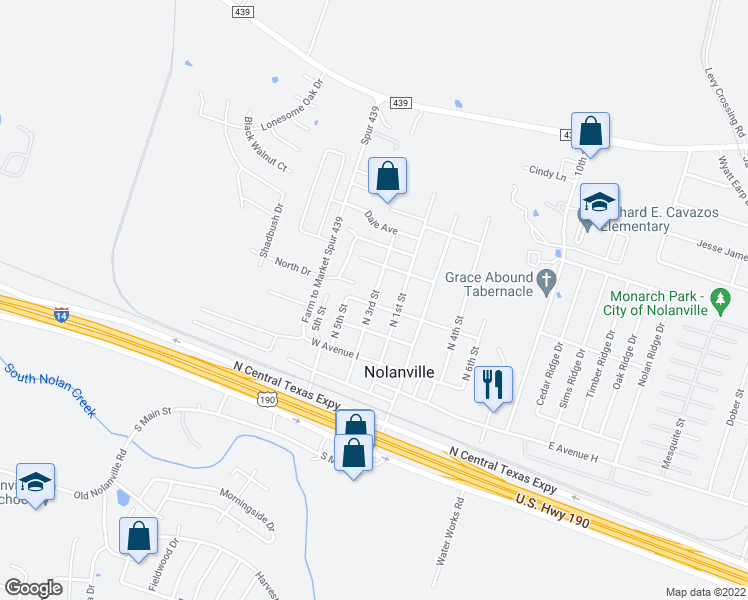 map of restaurants, bars, coffee shops, grocery stores, and more near 500 N 3rd St in Nolanville