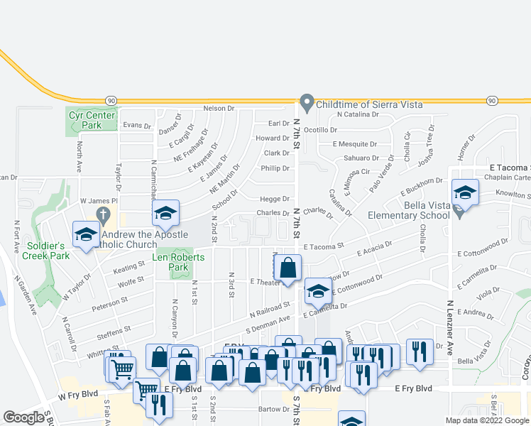 map of restaurants, bars, coffee shops, grocery stores, and more near 600 E Charles Dr in Sierra Vista