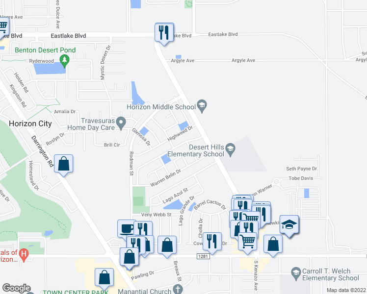 map of restaurants, bars, coffee shops, grocery stores, and more near 14129 De Stefano Ln in Horizon City