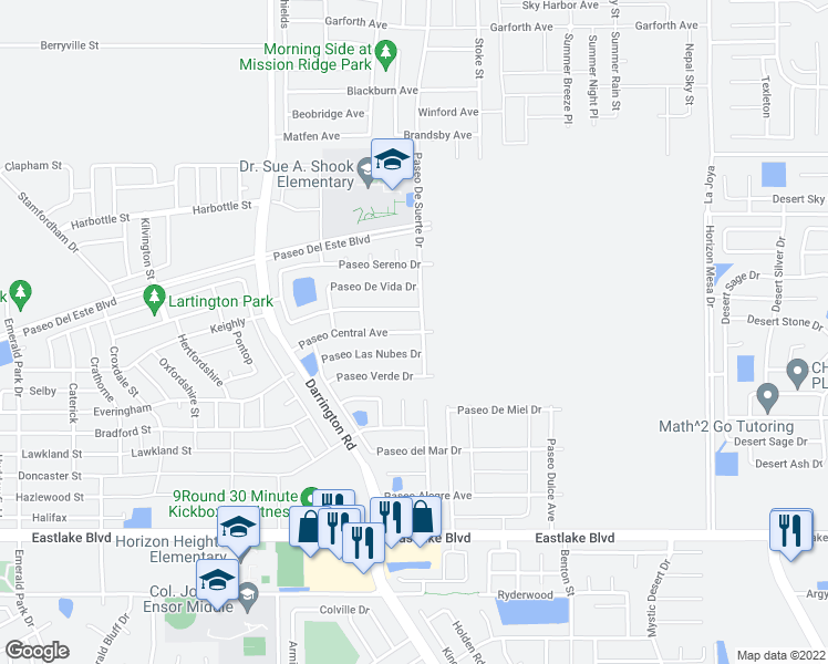 map of restaurants, bars, coffee shops, grocery stores, and more near 13789 Paseo Las Nubes Dr in Horizon City
