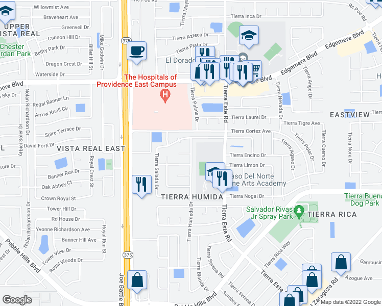map of restaurants, bars, coffee shops, grocery stores, and more near 12291 Tierra Loma Road in El Paso