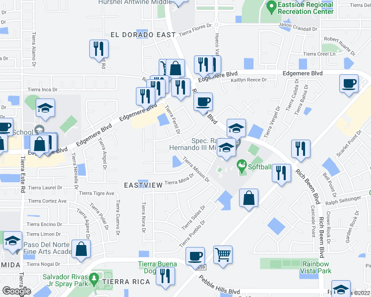 map of restaurants, bars, coffee shops, grocery stores, and more near 3345-3349 Tierra Fertil Drive in El Paso