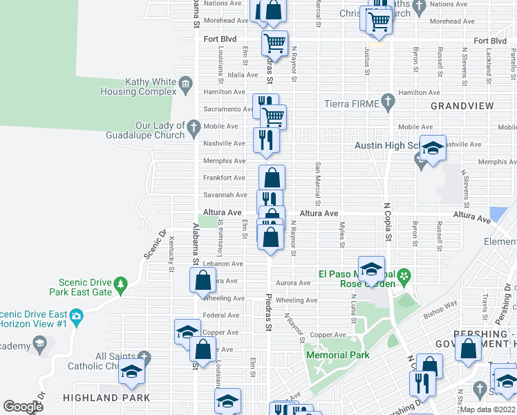 map of restaurants, bars, coffee shops, grocery stores, and more near 2819 Altura Avenue in El Paso