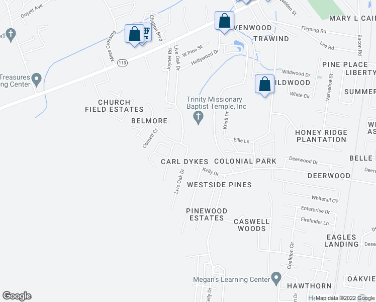map of restaurants, bars, coffee shops, grocery stores, and more near 1044 Live Oak Drive in