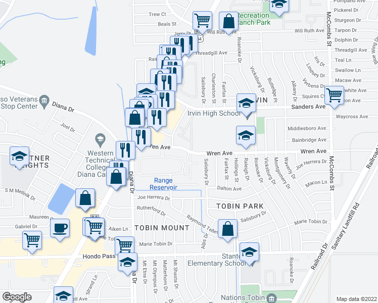 map of restaurants, bars, coffee shops, grocery stores, and more near 5159-5211 Wren Avenue in El Paso