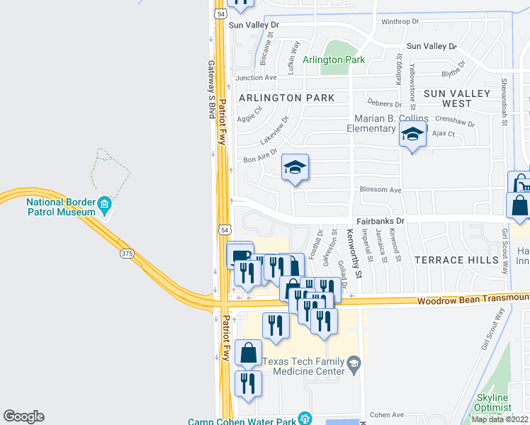 map of restaurants, bars, coffee shops, grocery stores, and more near 4573 Monahans Drive in El Paso