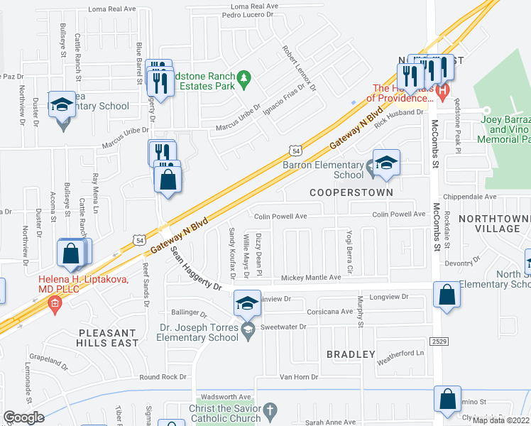 map of restaurants, bars, coffee shops, grocery stores, and more near 5365 Colin Powell Avenue in El Paso
