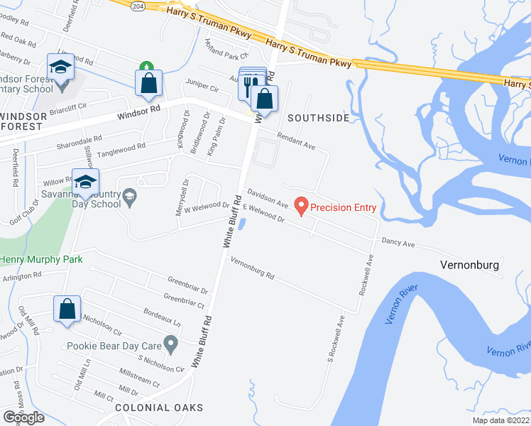 map of restaurants, bars, coffee shops, grocery stores, and more near 21 E Welwood Dr in Savannah