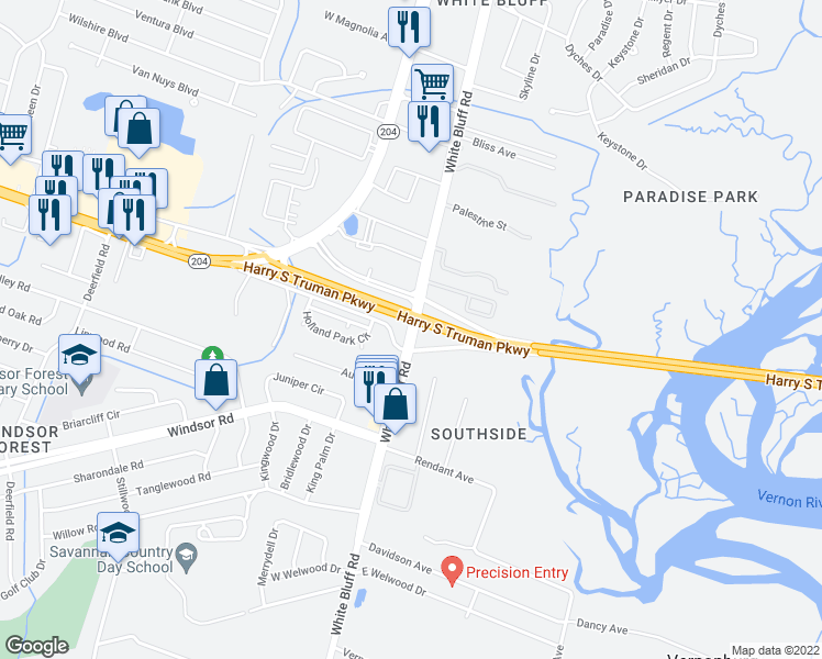map of restaurants, bars, coffee shops, grocery stores, and more near Truman Parkway in Savannah