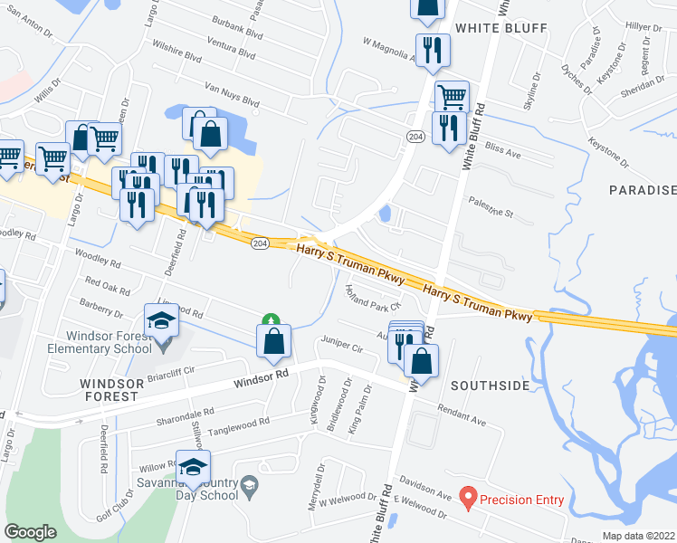 map of restaurants, bars, coffee shops, grocery stores, and more near Harry S Truman Parkway in Savannah