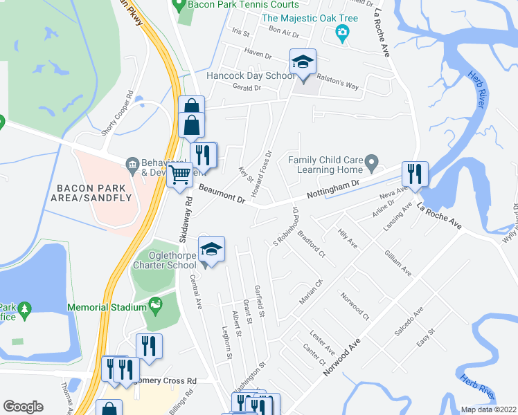 map of restaurants, bars, coffee shops, grocery stores, and more near 2299 Beaumont Drive in Savannah