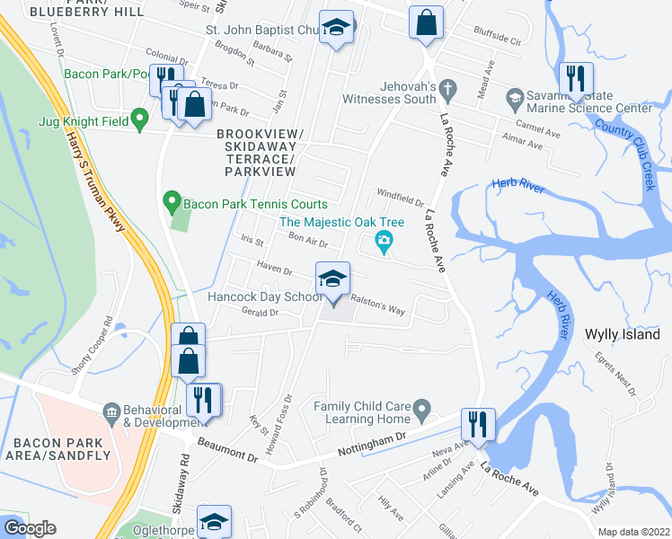 map of restaurants, bars, coffee shops, grocery stores, and more near 6842-6890 Howard Foss Drive in Savannah