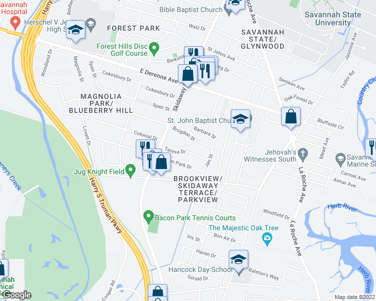 map of restaurants, bars, coffee shops, grocery stores, and more near 2206 Teresa Drive in Savannah