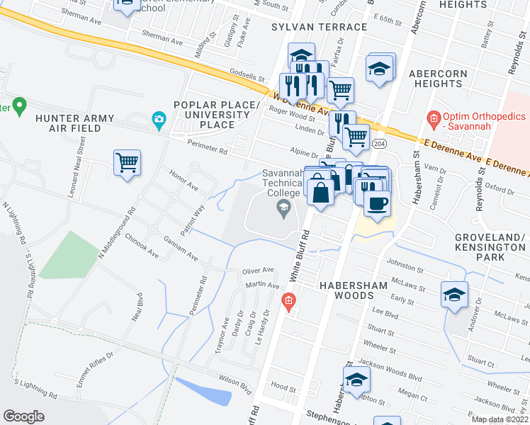 map of restaurants, bars, coffee shops, grocery stores, and more near 5717 White Bluff Road in Savannah
