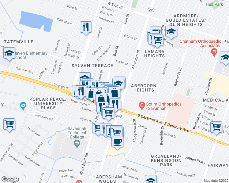 map of restaurants, bars, coffee shops, grocery stores, and more near 5100-5320 Bull Street in Savannah
