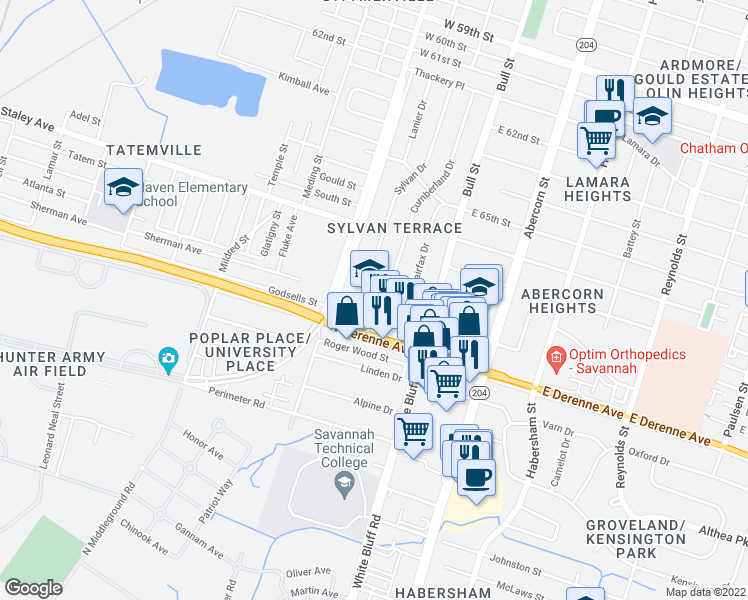 map of restaurants, bars, coffee shops, grocery stores, and more near 25 Berkley Place in Savannah