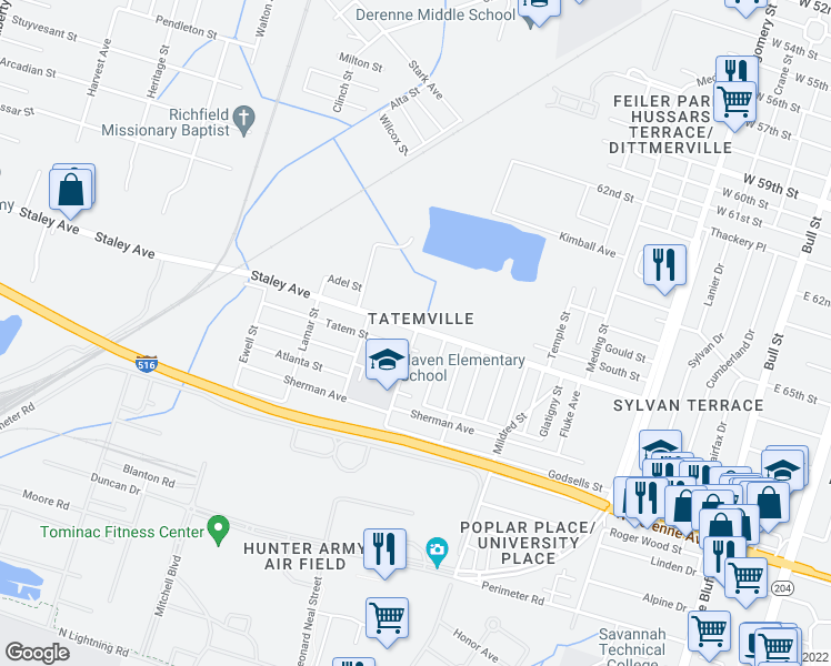 map of restaurants, bars, coffee shops, grocery stores, and more near 602 Tatem Street in Savannah