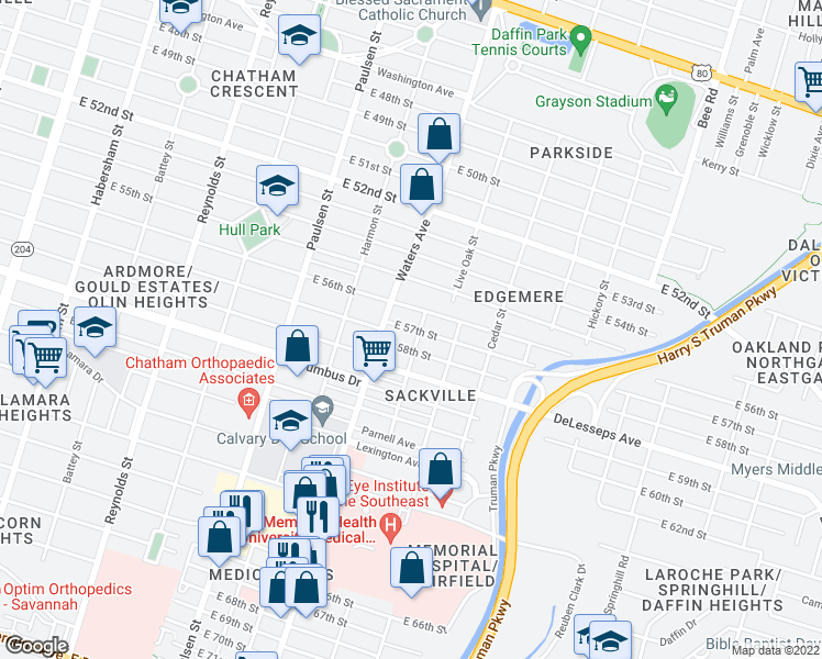 map of restaurants, bars, coffee shops, grocery stores, and more near 4101-4199 Guatamala St in Savannah