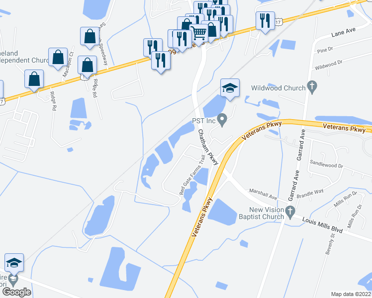 map of restaurants, bars, coffee shops, grocery stores, and more near 136 Red Gate Farms Trail in Savannah