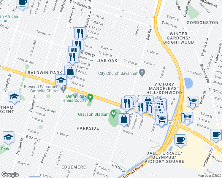 map of restaurants, bars, coffee shops, grocery stores, and more near 2415 Ash Street in Savannah