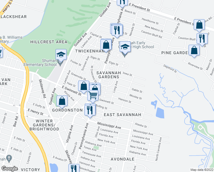 map of restaurants, bars, coffee shops, grocery stores, and more near 601-605 East Crescent Drive in Savannah