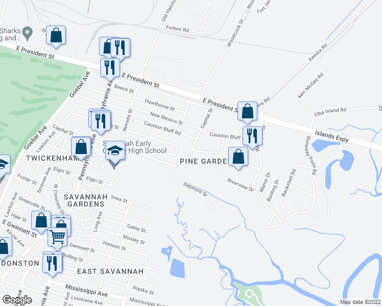 map of restaurants, bars, coffee shops, grocery stores, and more near 2800 Capital Street in Savannah