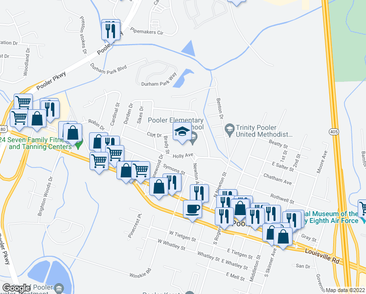 map of restaurants, bars, coffee shops, grocery stores, and more near 220 Holly Ave in Pooler