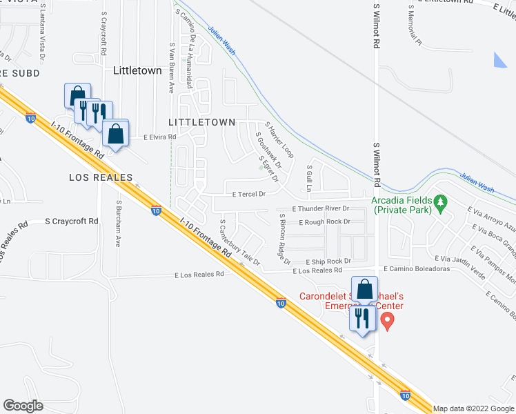 map of restaurants, bars, coffee shops, grocery stores, and more near 5955 East Chaucers Drive in Tucson
